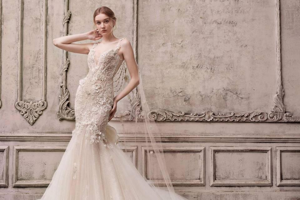 vestido de novia color champagne