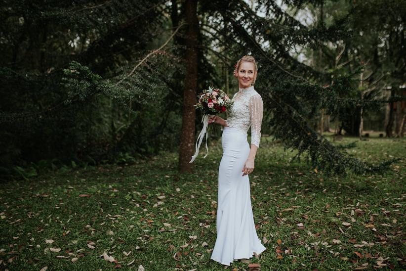 Vestido de novia sirena mangas largas