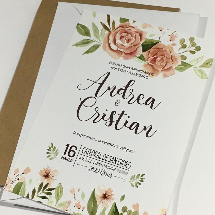 Tarjeta de casamiento flores