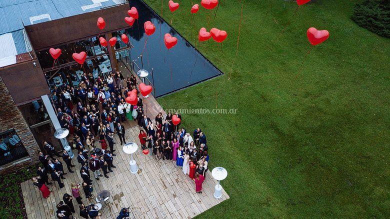 Foto aérea de casamiento