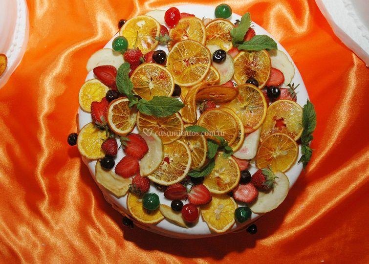 Frutas en la torta