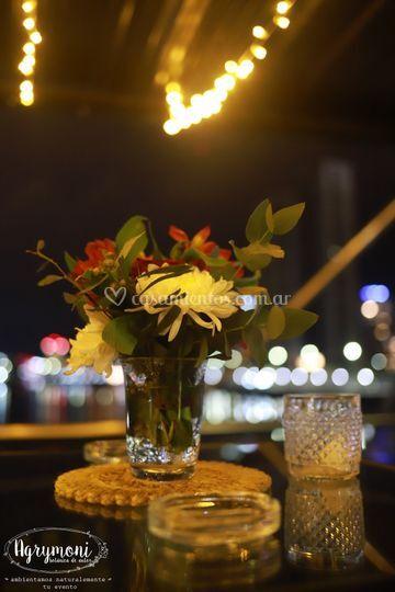 Flores y techo de luces