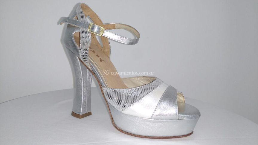 Zapato novia plateado
