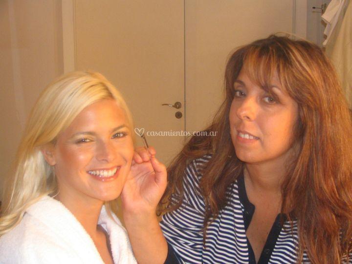 Maquillando a Pia Slapka