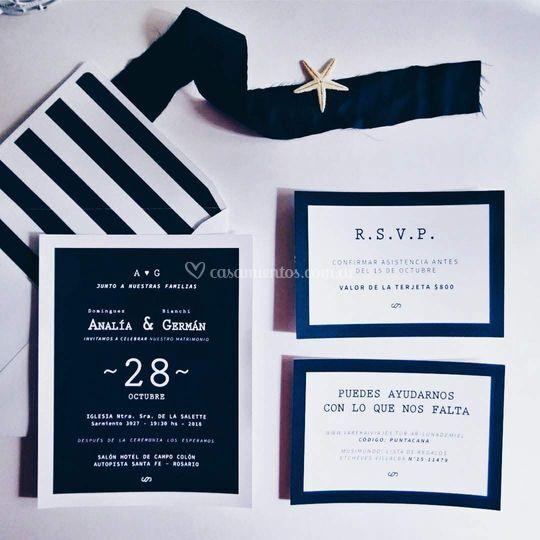 Azul Marino invitaciones