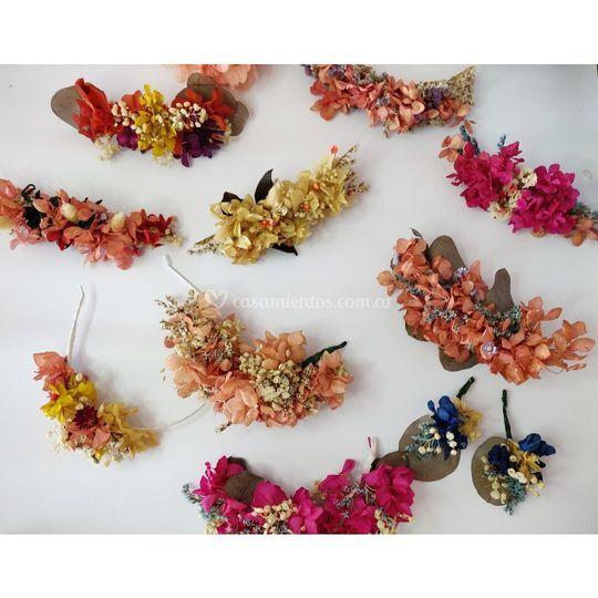 Tocados en flores preservadas