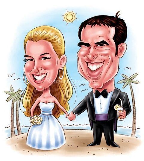 Caricaturas souvenir en bodas