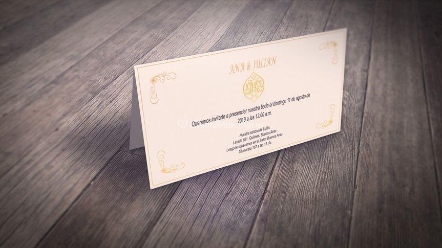 Invitación fotos sobre madera