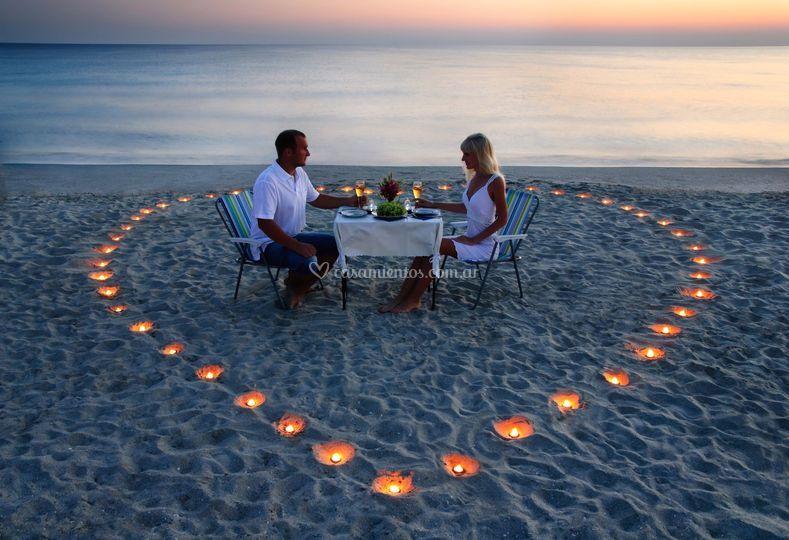 Cena romántica en el caribe