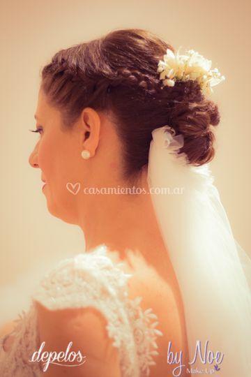Detallle peinado novia