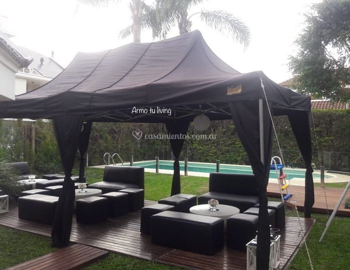 Carpa 6x3 negra y livings
