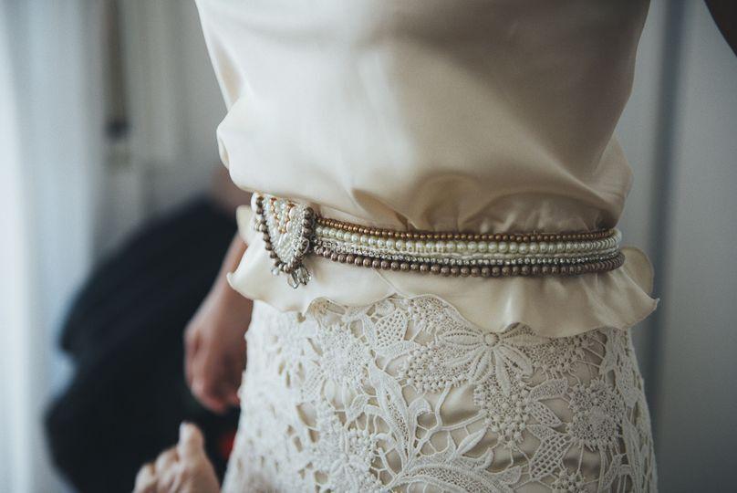 Faja perlas y broche vintage