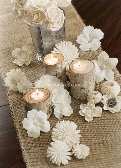 Centro mesa velas, flores