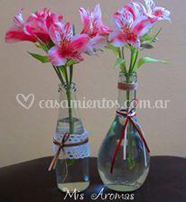 Centros de mesa en botellas