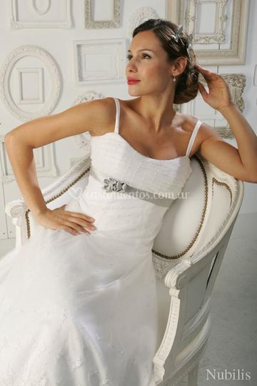 Vestido faja plata