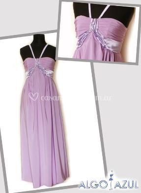 Vestido en rasa y tonos violeta