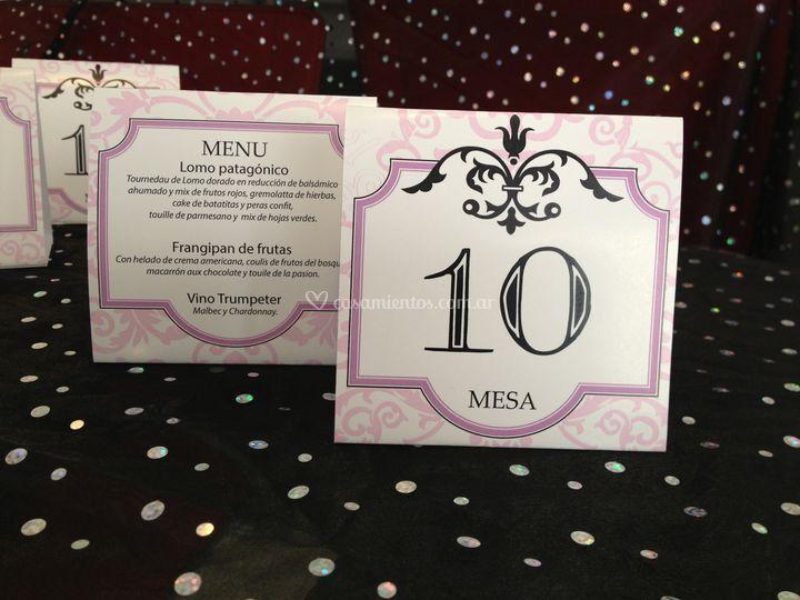 Número de mesa + menú