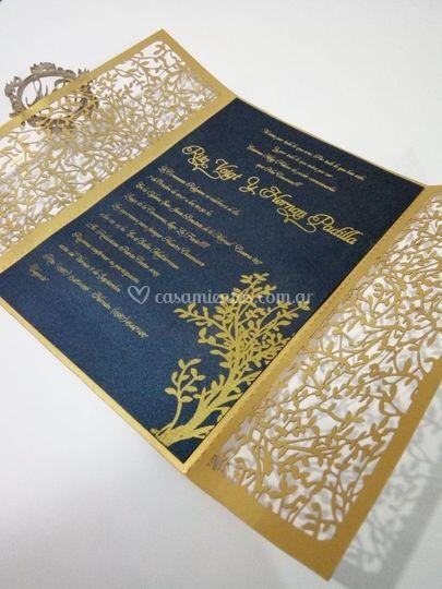 Invitacion estamping dorado