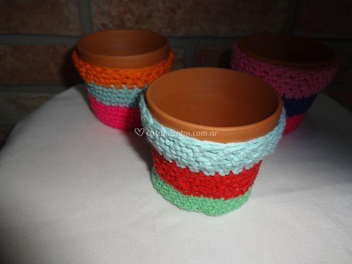 Maceta con crochet