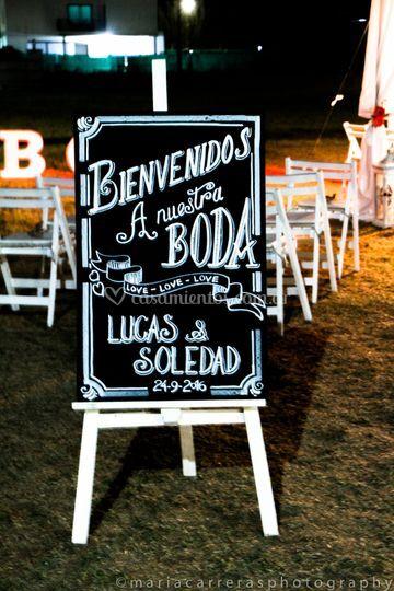 Cartel bienvenido boda