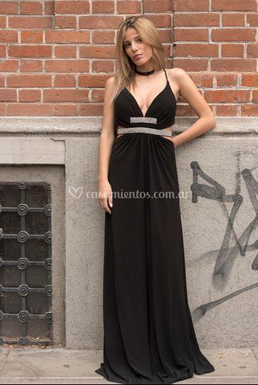 Vestido negro y strass