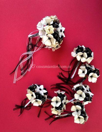 Ramo de novia blanco y negro