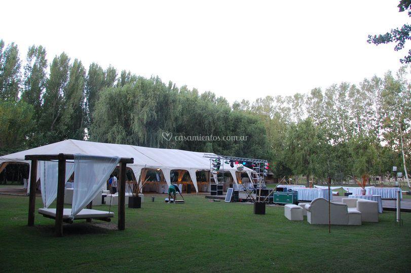 Vista desde los camastros de casa de campo eventos fotos - Salones de casas de campo ...