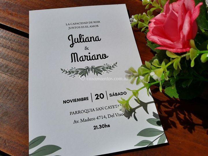 Invitaciones en papel opalina