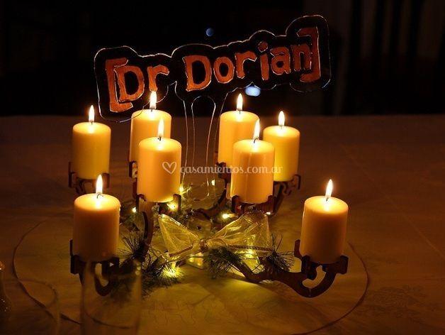 Porta velas centro de mesa