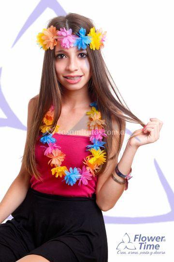 Collar y vinchas hawaianos