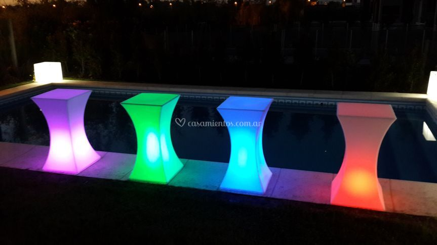 Mesas altas luminosas led rgb