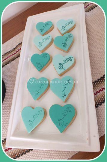 Cookies corazón con filigrana