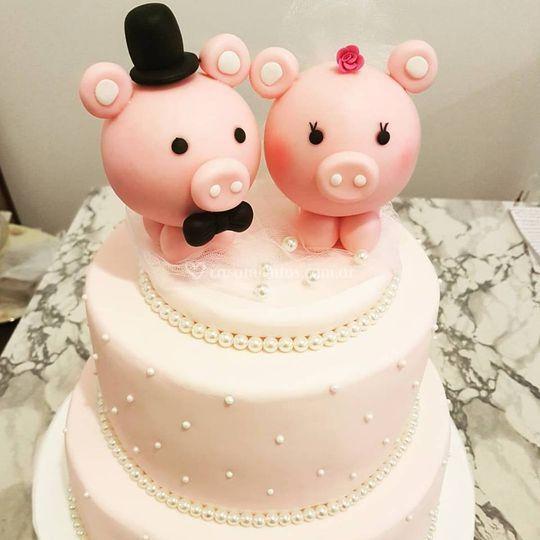 Torta de boda chanchitos