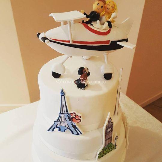 Torta de boda viajeros