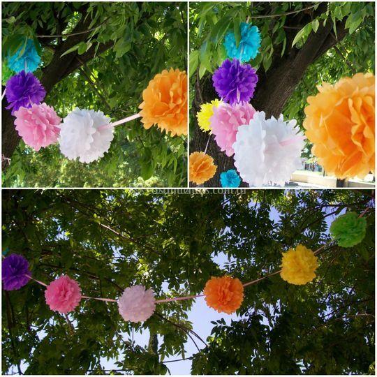 Guirnaldas con flores de 12 cm