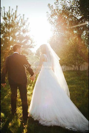 Novios en el casamiento