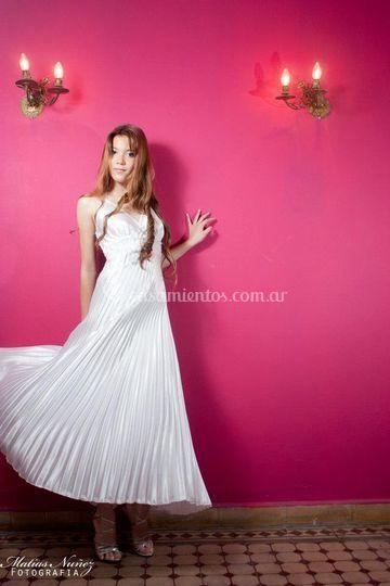 Vestido plizado blanco