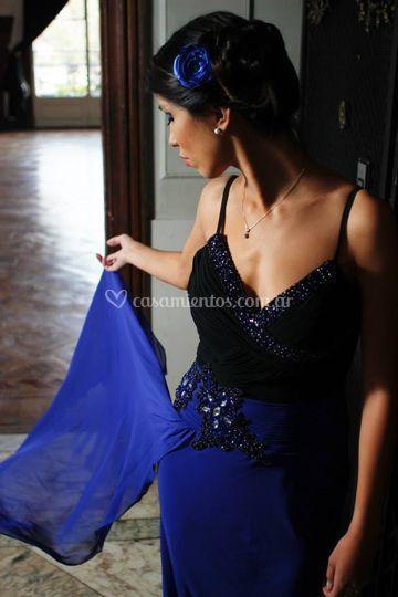 Vestido largo azul máxima