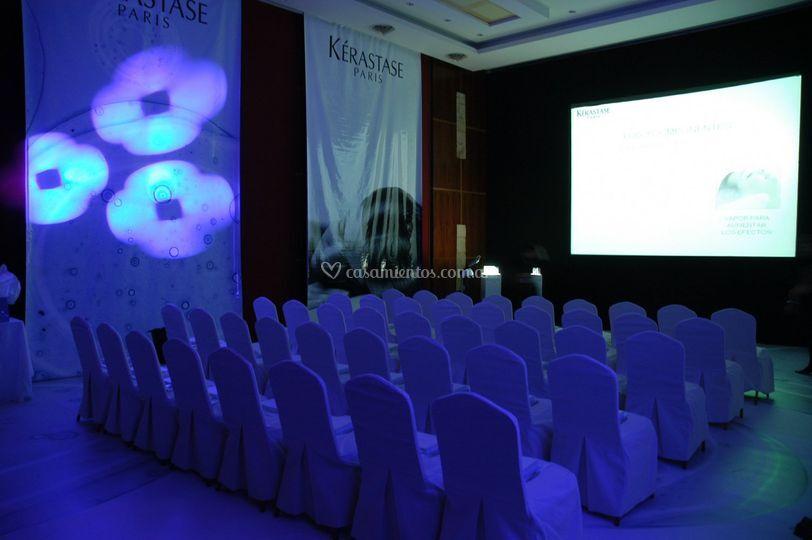 Salón con efectos de iluminación