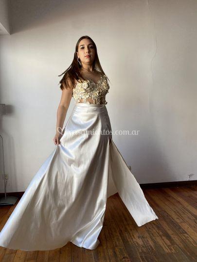 Boda tul 3D falda raso