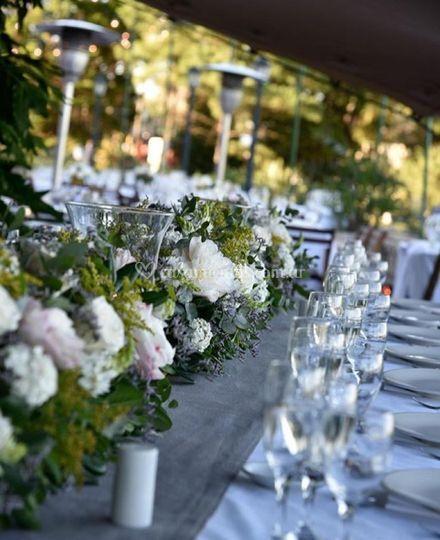 Presentación mesa flores