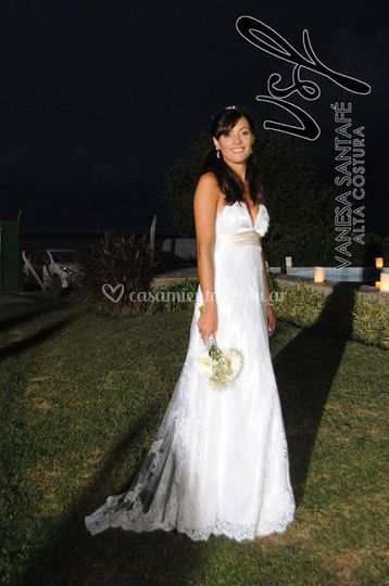 Vestido en tul bodado