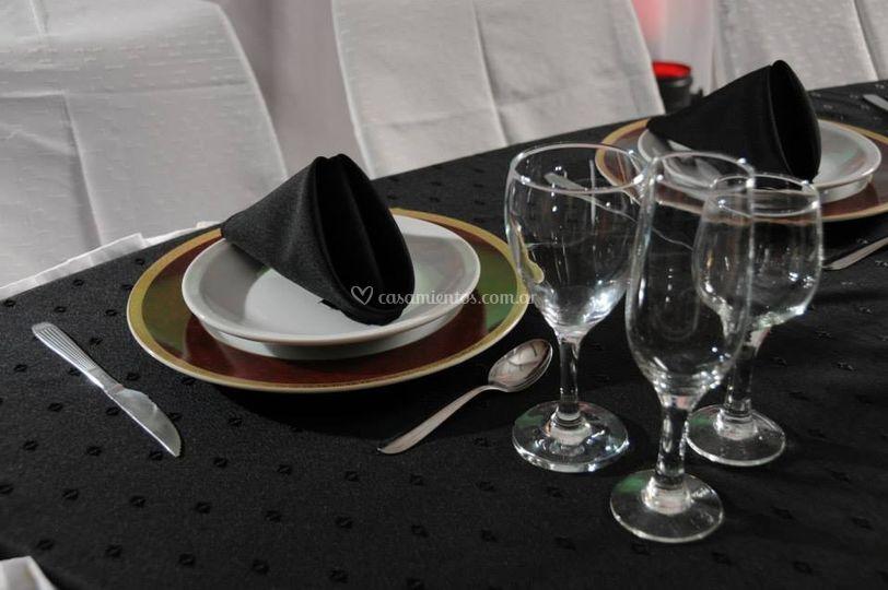 Detalle decoración de mesa
