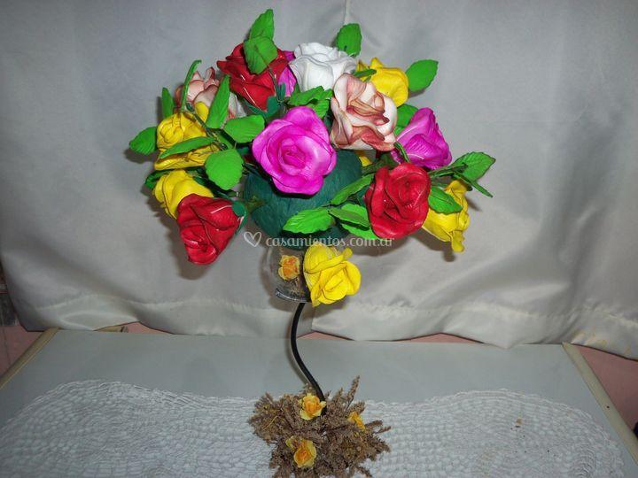 Centros de mesa de Flores En Goma