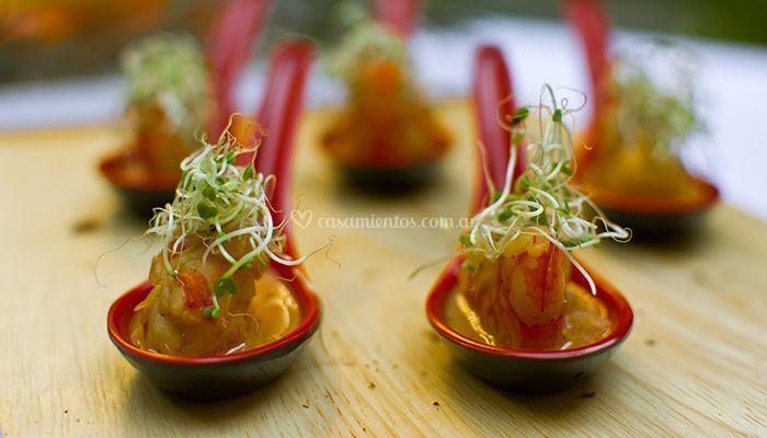 Cucharitas thai de camarones