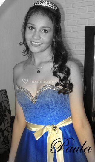 Vestido de 15 azul cobalto