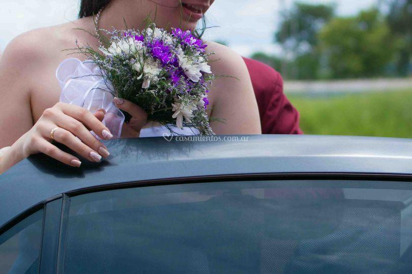 Entrando al auto