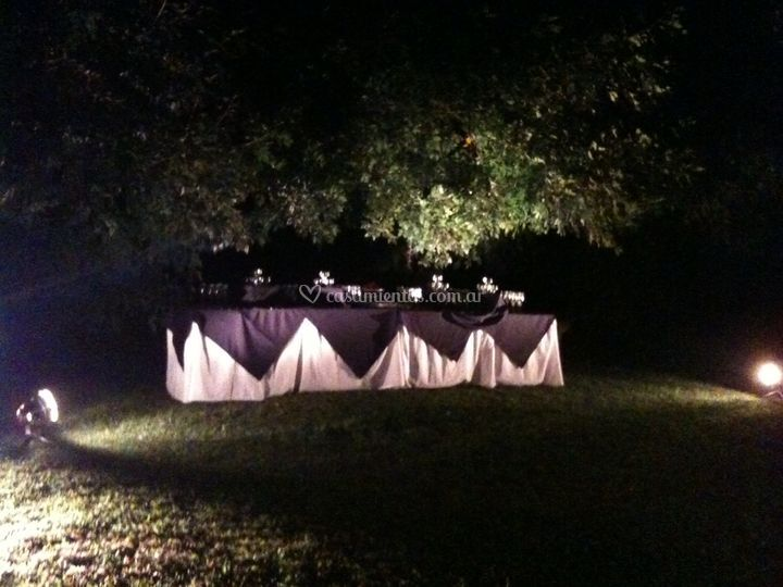 Mesa vestida al aire libre