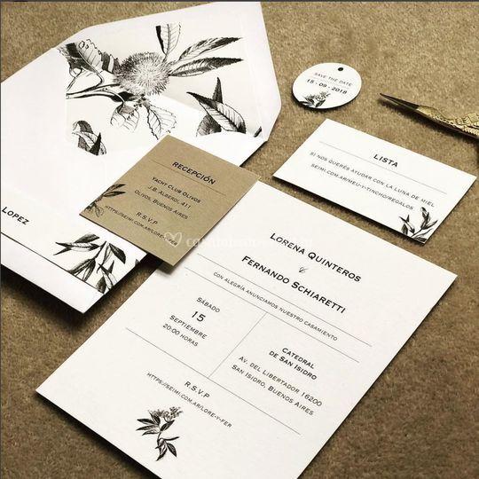 Invitación modelo follaje