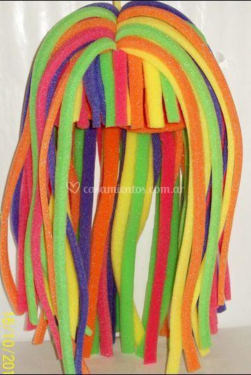 Peluca larga multicolor